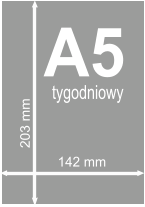 A5 tygodniowy 142 mm 203 mm
