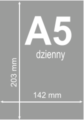 A5 dzienny 142 mm 203 mm